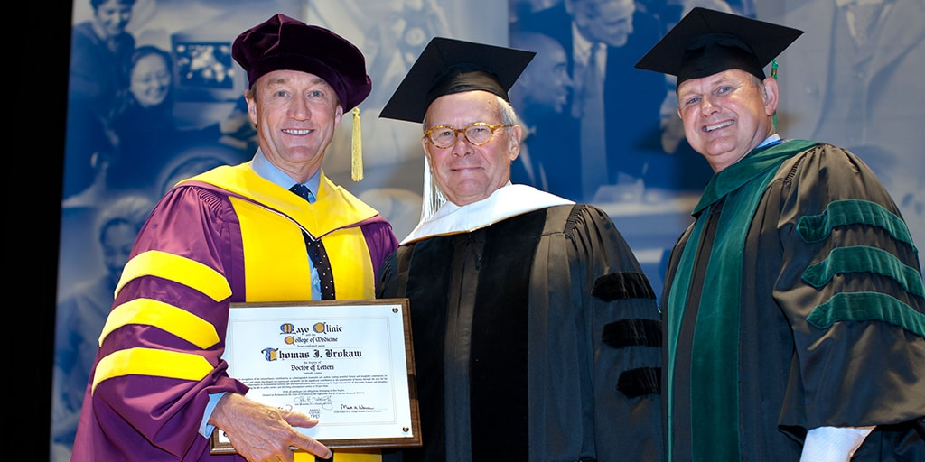 John H. Noseworthy, M.D., Thomas J. Brokaw, and Mark A. Warner, M.D. at 2013 Mayo Clinic College of Medicine and Science commencement ceremony