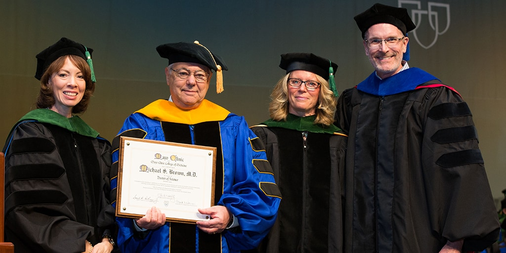 Michele Y. Halyard, M.D., Michael S. Brown, M.D., Bobbie S. Gostout, M.D., and Jim Maher III, Ph.D. at 2016 Mayo Clinic College of Medicine and Science commencement ceremony
