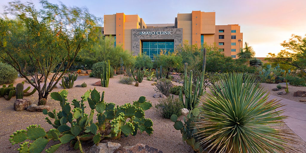 view of the Mayo Clinic building on the Arizona campus in a desert scene