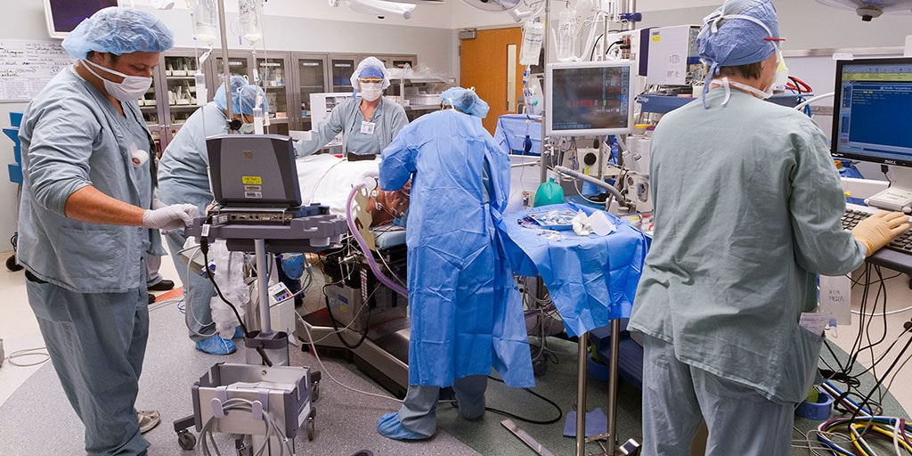 Mayo Clinic surgical technologists preparing for a procedure