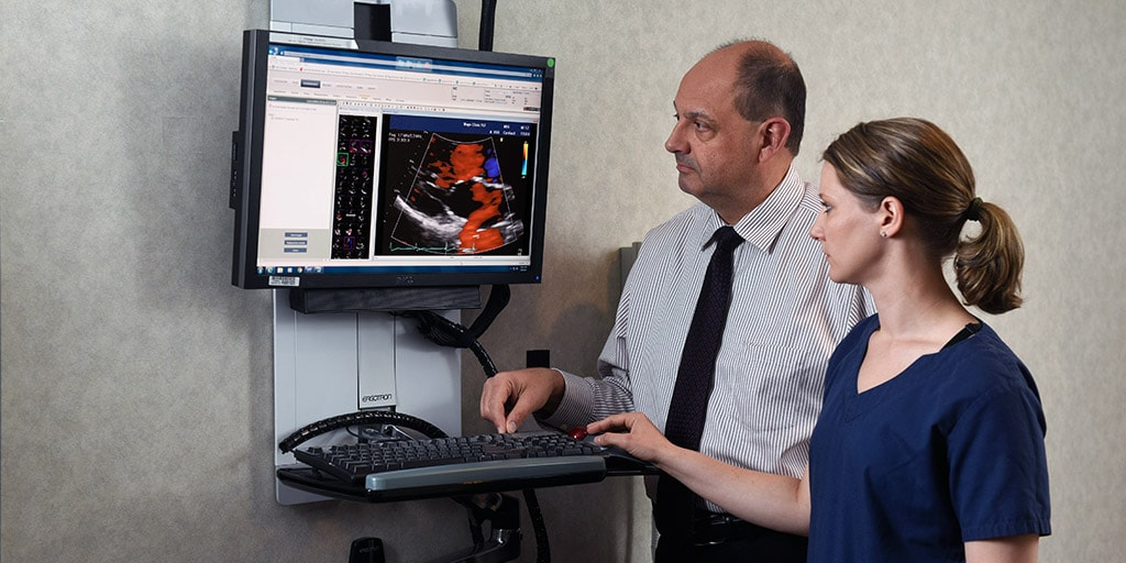 A Mayo Clinic advanced cardiovascular sonographer with a physician