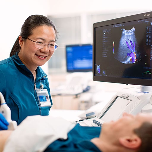 Mayo Clinic diagnostic medical sonographer conducting an ultrasound on a patient