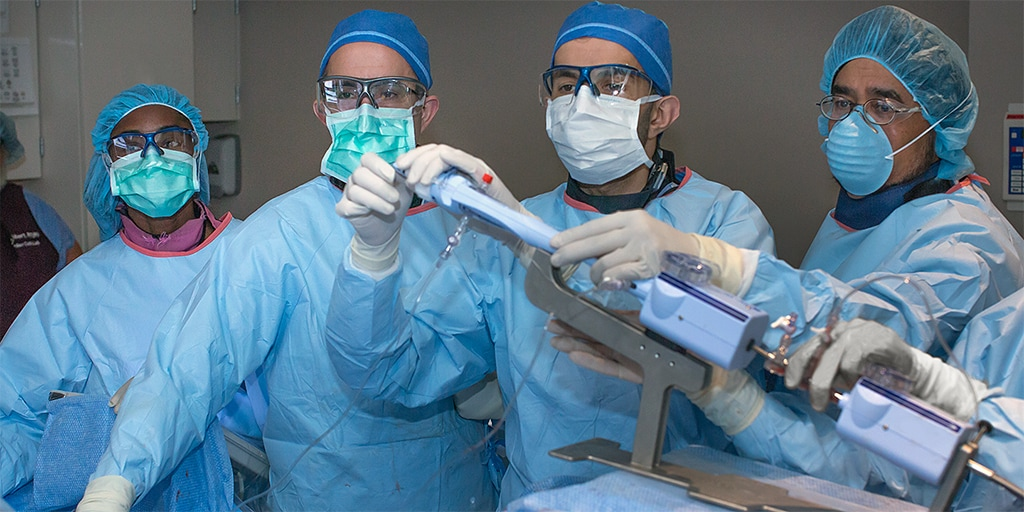 Interventional Cardiologists carry out a procedure