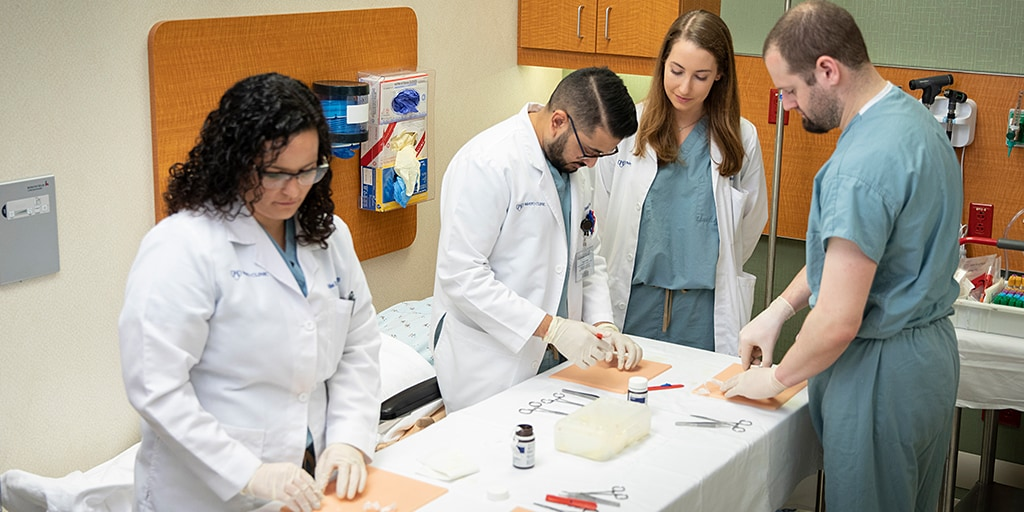Residents in the Internal Medicine Residency at Mayo Clinic's campus in Jacksonville, Florida, incorporate simulation center learning into their training.