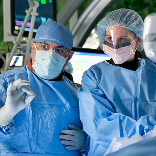 Interventional Radiology residents working together in the operating room at Mayo Clinic in Phoenix, Arizona.