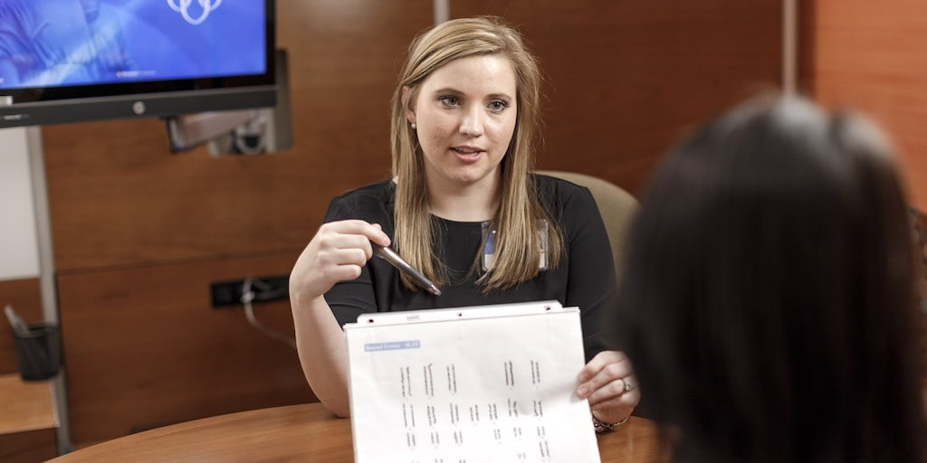 Mayo Clinic geneticist reviewing test results with a patient