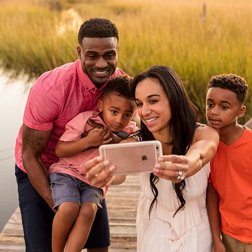 Family taking a selfie in Jacksonville wetlands